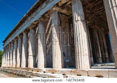 Detail of The Temple of Hephaestus in Agora in Athens Greece.