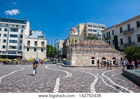 Monastiraki Square on August 4 2013 in Athens Greece.