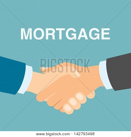 Mortgage deal handshake. Real estate buying or selling. Finding new property.