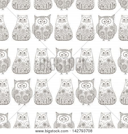 Doodle cats and owls. Vector seamless pattern with hand drawn bird and kitten. Cute childish background. Outline. Black elements on white background.