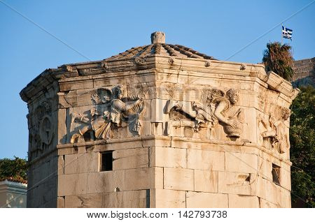 Detail of the Tower of the Winds in the Ancient Agora. Greece.