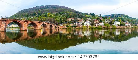 Panoramic view of famous town Heidelberg in Germany. The Old Bridge over the River Neckar in spring
