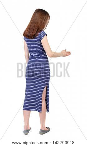 back view of woman shake hands. Rear view people collection. backside view of person. Isolated over white background. The brunette in a blue striped dress holds out his hand for a handshake.