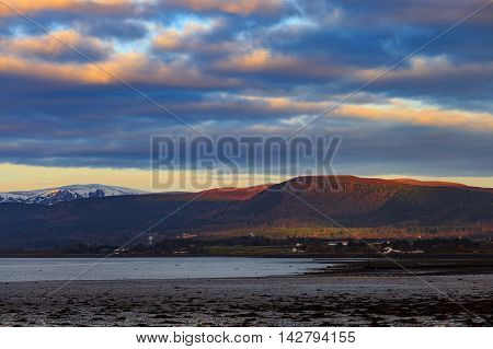 Landscape of mountain at Cromarty Firth during Sunset in Invergordon Scotland