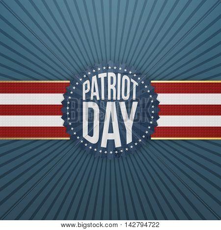 Patriot Day paper festive Badge. Vector Illustration