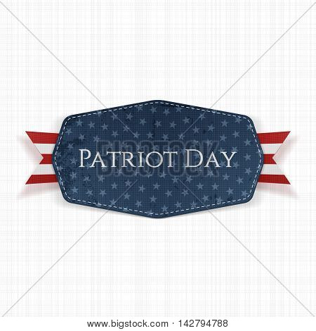 Patriot Day Text on Label with Ribbon. Vector Illustration