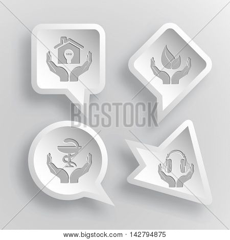 4 images: economy in hands, life in hands, pharma symbol in hands, headphones in hands. In hands set. Paper stickers. Vector illustration icons.