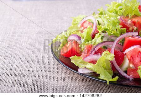 Side View Of A Plate Of Fresh Salad Closeup