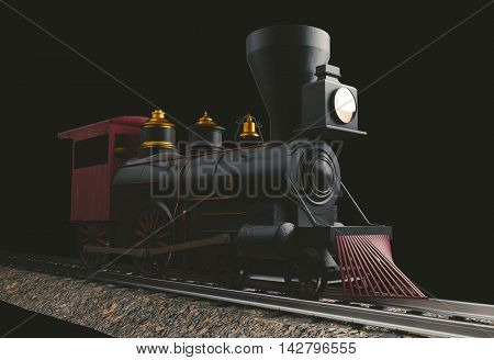 Old American 4-4-0 Steam Locomotive on black 3D render