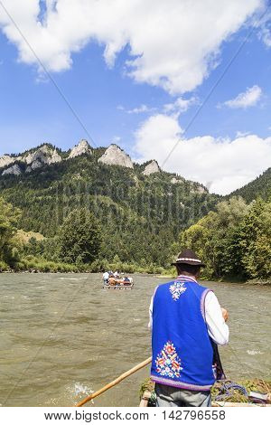 SZCZAWNICA POLAND - AUGUST 14 2016 : Dunajec River Gorge .View from boat rafting. 18-kilometer route runs through the Pieniny Mountains to Szczawnica National Park by river on the border between Poland and Slovakia.