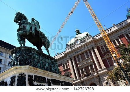 BELGRADE, SERBIA - AUGUST 15, 2016: Reconstruction of National Museum and monument of prince Mihailo, Belgrade Serbia