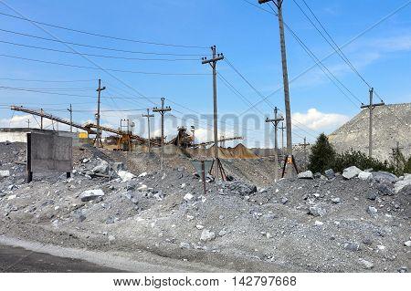 Pit mining in summer Karagaysky careers mining magnesite