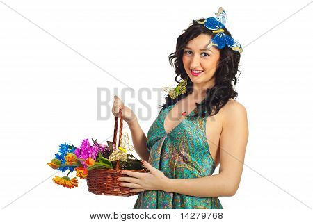 Beauty Woman Holding Flowers