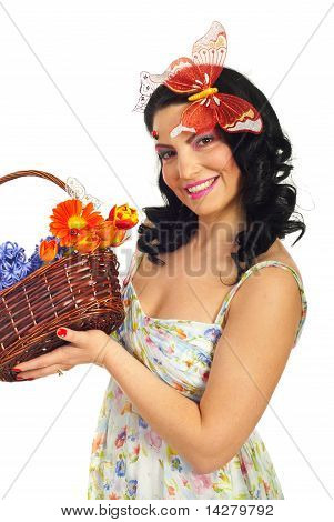 Lovely Spring Woman Hold Basket With Flowers