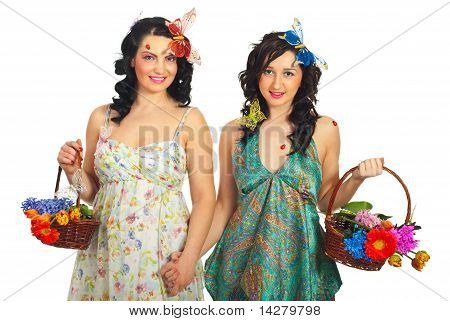 Spring Women Friends With Flowers