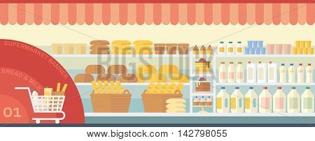 Flat interior supermarket with bread and milk