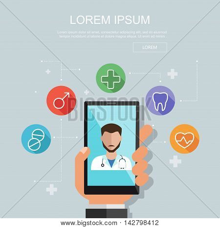 Hand holding smartphone with site of clinic. Medical consultation concept. Vector flat illustration. Flat medical icons. Clinic concept.