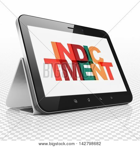 Law concept: Tablet Computer with Painted multicolor text Indictment on display, 3D rendering