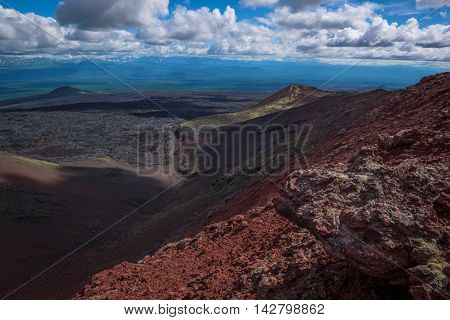 Panoramic view on wide lava fields from Tolbachik Volcano, Kamchatka, Russia