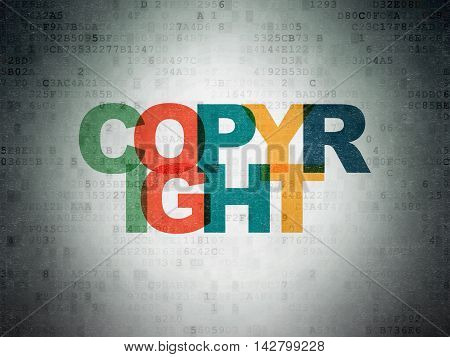 Law concept: Painted multicolor text Copyright on Digital Data Paper background