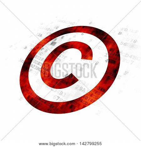 Law concept: Pixelated red Copyright icon on Digital background
