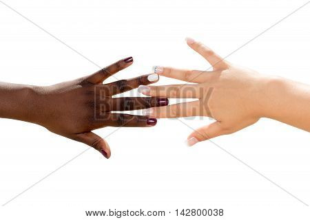 Macro close up of african female hand touching white female hand.Two diverse nail polished hands isolated on white background.