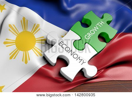 Philippines economy and financial market growth concept, 3D rendering
