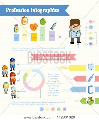 Cute profession Infographic, vector illustration for banner