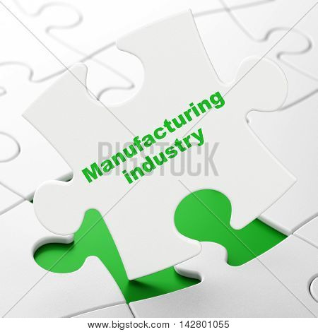 Industry concept: Manufacturing Industry on White puzzle pieces background, 3D rendering