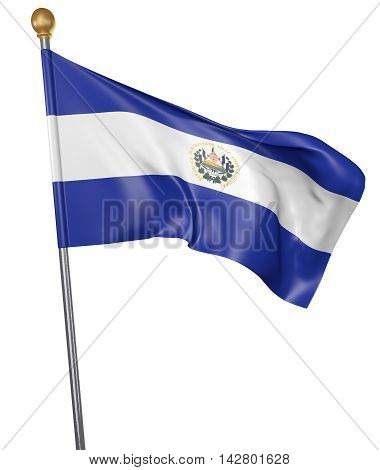 National flag for country of El Salvador isolated on white background, 3D rendering