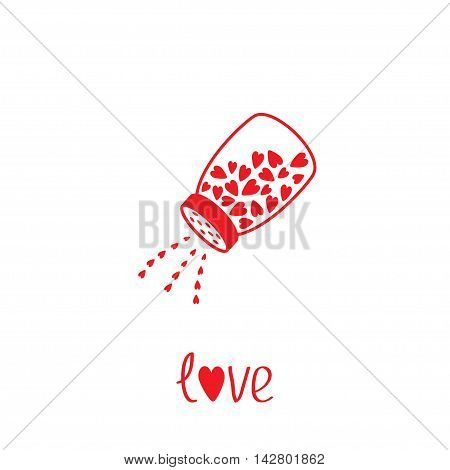 Salt shaker with hearts crystals inside. Glass container. Line icon. Love card. Flat design. White background. Vector illustration.