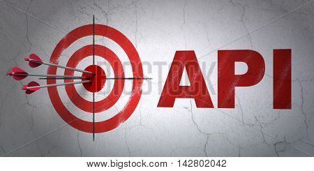 Success Software concept: arrows hitting the center of target, Red Api on wall background, 3D rendering