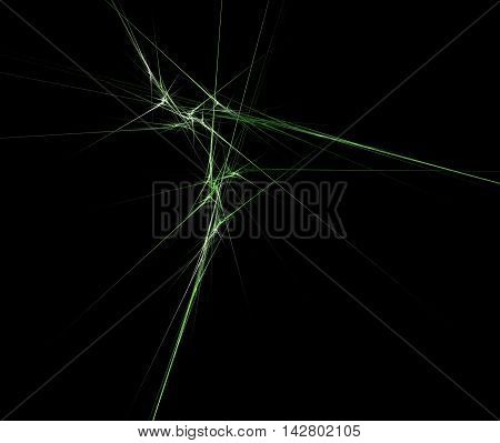 Abstract bright green fractal computer-generated image on black background