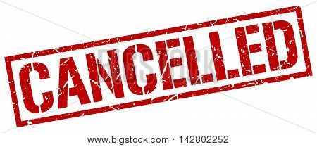 cancelled stamp. red grunge square isolated sign