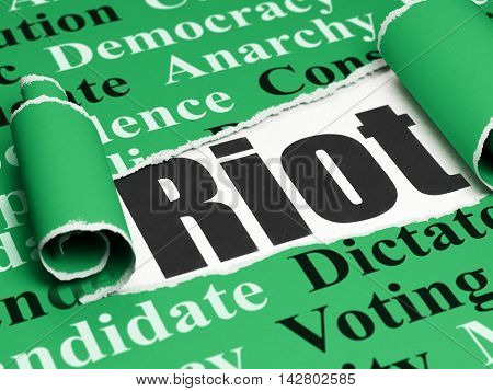 Politics concept: black text Riot under the curled piece of Green torn paper with  Tag Cloud, 3D rendering
