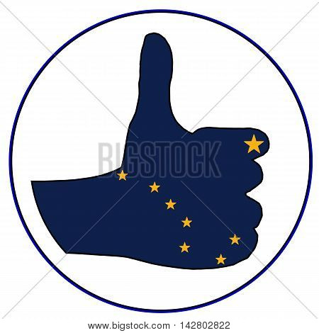 An Alaska Flag hand giving the thumbs up sign all over a white background