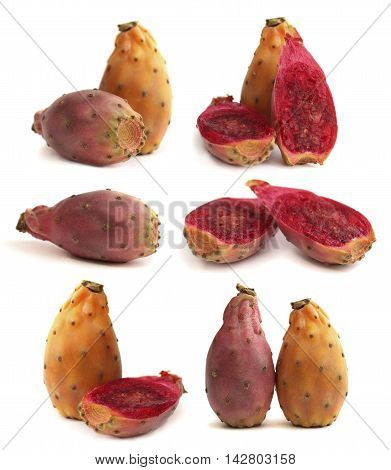 Prickly pear - opuntia fruit isolated on white