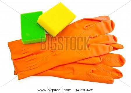 Orange Rubber Gloves With Sponges