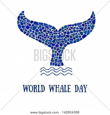World Whale day poster. Mosaic whale tale logo. Design element for poster, banner, flyer.