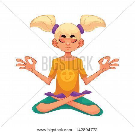 blond haired girl doing yoga, cartoon style vector illustration isolated on white background. Kid yoga, little girl in yoga asanas, healthy lifestyle