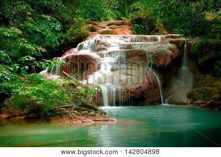 Erawan waterfall in Thailand in deep forest