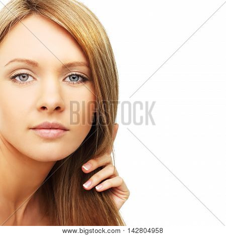Beautiful woman blond hair isolated - beauty background
