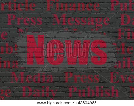 News concept: Painted red text News on Black Brick wall background with  Tag Cloud