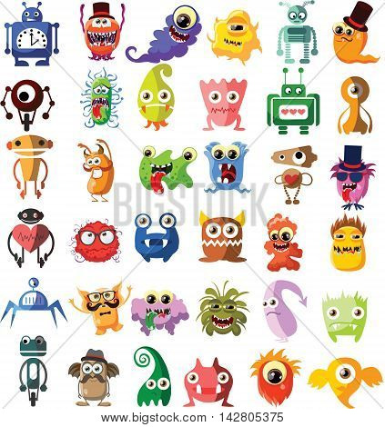 Set of drawings of different characters monsters, robots, aliens and other characters