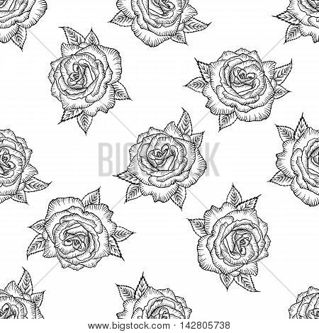 Seamless pattern with black and white rose isolated. Pattern of monochrome rose. Vector rose. Design for card mothers day wedding birthday textile web wallpaper wraping