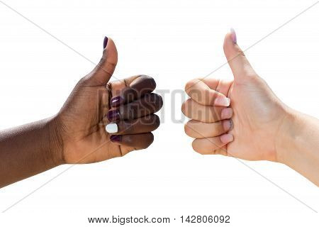 Macro close up of two female hands doing thumbs up.Side view of diverse multiracial hands together isolated on white background.