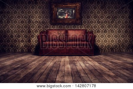 Old runge vintage interior background. 3d rendering