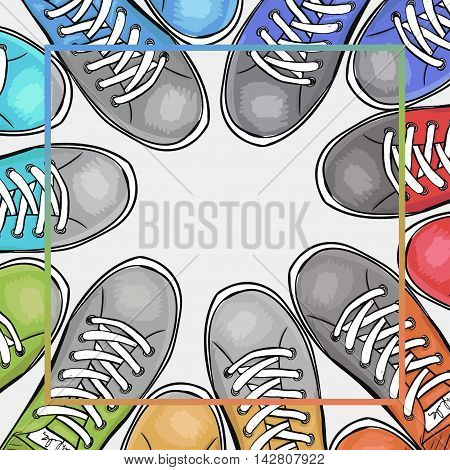 Colorful poster with athletic shoes with place for text black-and-white filter. Advertising sports shoes. Vector illustration