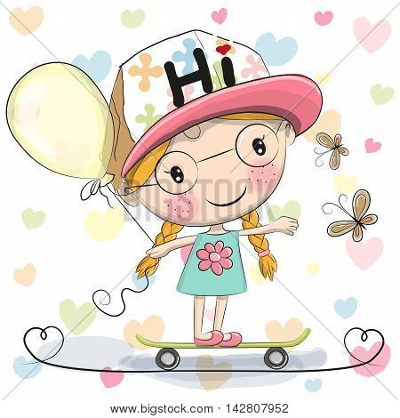 Cute Cartoon Girl with balloon on a skateboard