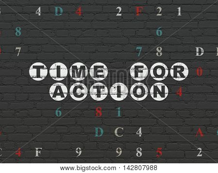 Timeline concept: Painted white text Time for Action on Black Brick wall background with Hexadecimal Code